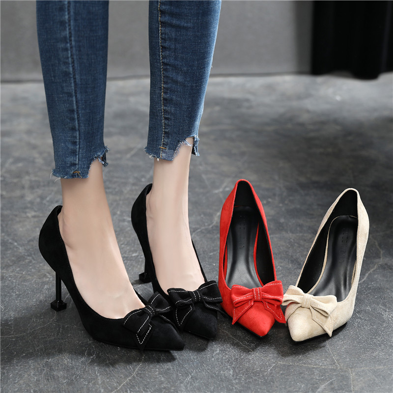 Black high heels womens professional thin heels ol versatile 2019 new pointed work shoes small womens shoes 31 32 33