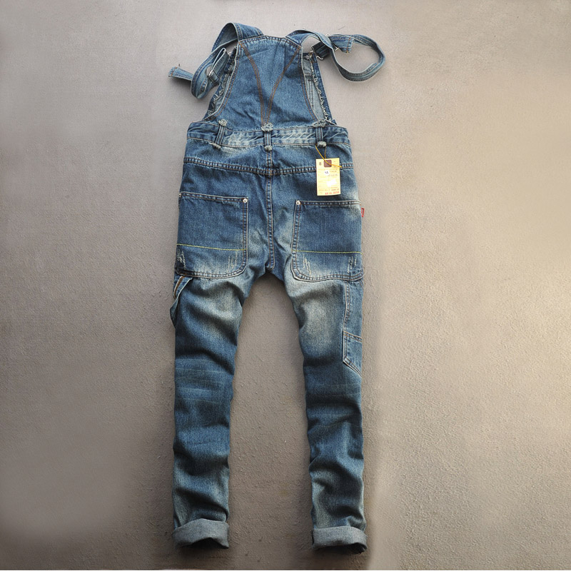 Harajuku style work clothes suspenders boys suspenders AMI Khaki loose hole lovers young mens jeans