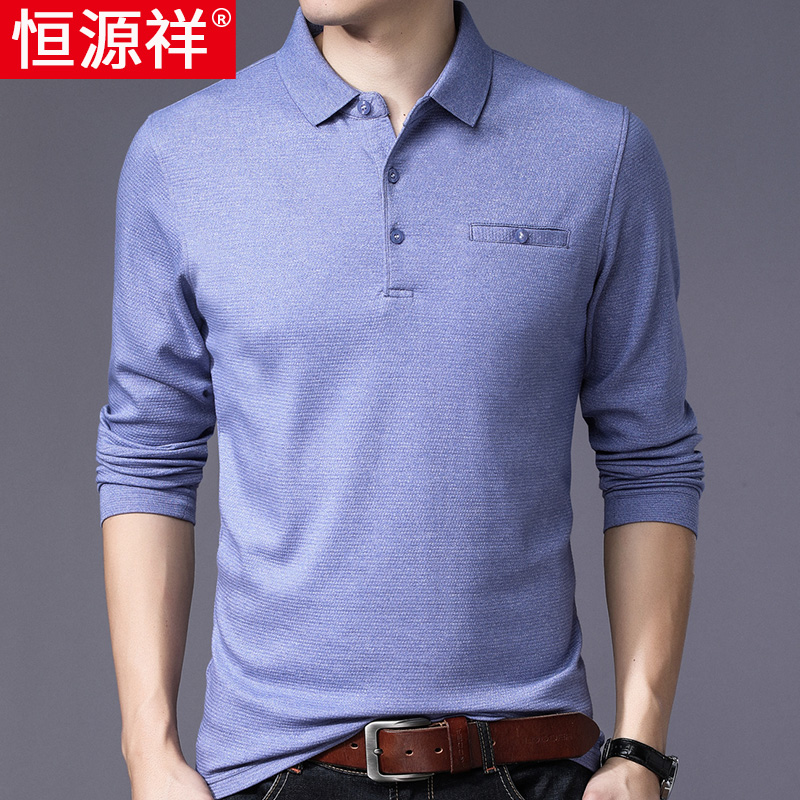 Hengyuanxiang mens long sleeve T-shirt spring and autumn thin pure color cotton middle aged dads real pocket polo shirt