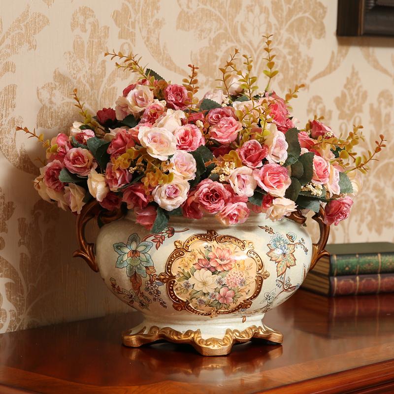 欧式复古装饰品摆件陶瓷花盆花艺花器餐桌花瓶客厅摆设工艺品创意限100000张券