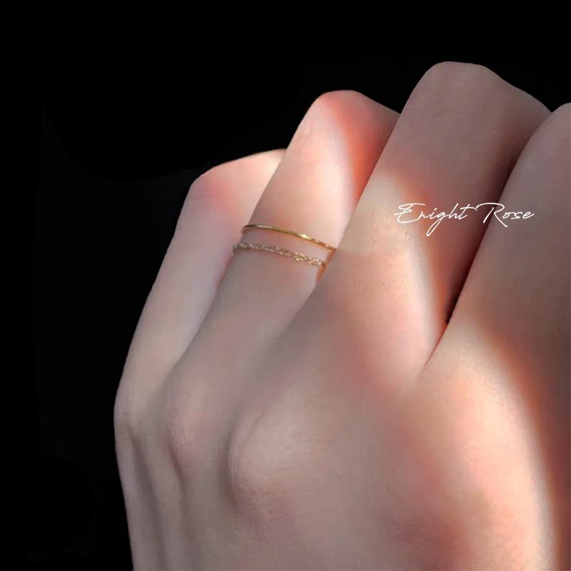巨细!0.5mm!14k包金食指戒尾戒不掉色纯银链条戒指钛钢素圈指环19.6元