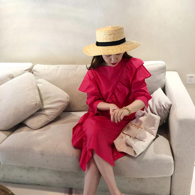 2020春夏季流行连衣裙女新款网红荷叶边仙女衬衫裙子