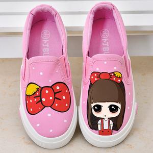 卜丁儿童帆布鞋韩版童鞋女童手绘鞋单鞋卡通板鞋公主鞋春款宝宝鞋