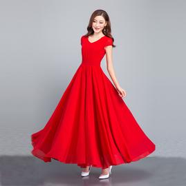 连衣裙女2020夏季新款修身雪纺大摆长裙 V领波西米亚裙气质沙滩裙