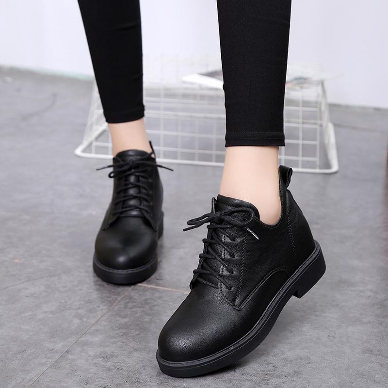2018春秋复古英伦风平底粗跟短筒短靴系带单靴女马丁靴休闲裸靴子