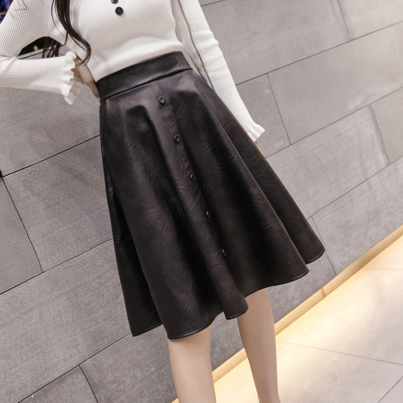 PU leather umbrella skirt womens autumn and winter 2020 new fashion show thin crotch covering leather skirt medium length high waist big swing skirt