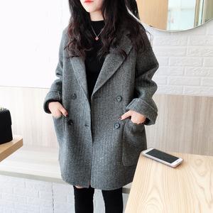 双面羊绒大衣女2019年新款韩版宽松人字纹小个子双面呢毛呢外套