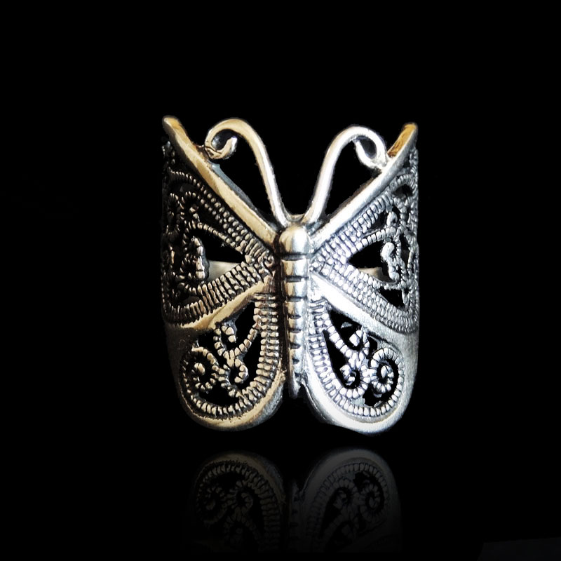 [special price every day] 925 Silver Butterfly Ring with hollow index finger ring and handmade silver ornament with adjustable opening