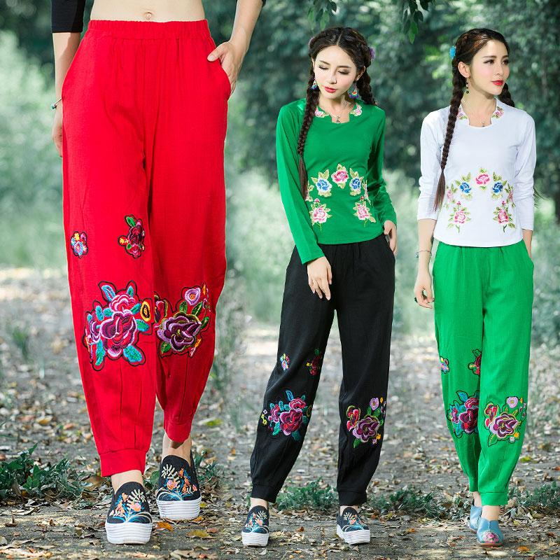 包邮2018春夏民族风女装复古中国风刺绣花阔腿裤亚麻灯笼裤长裤子