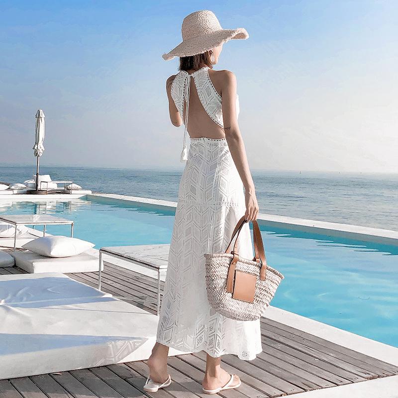 波西米亚挂脖连衣裙名媛气质沙滩裙不包邮