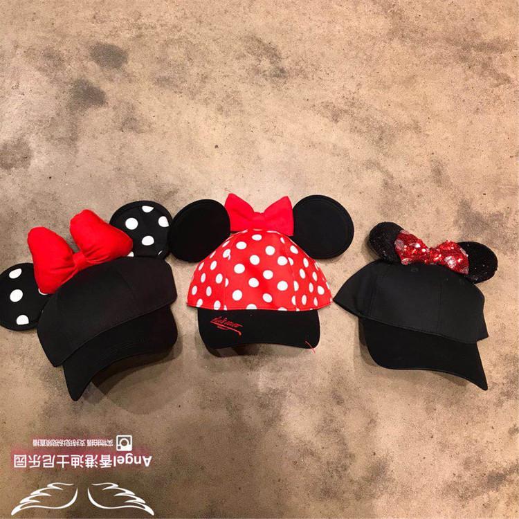 香港迪士尼 米妮 蝴蝶结波点 耳朵造型 成人卡通太阳帽 帽子