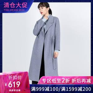 莱茨100%羊毛大衣2019春秋新款气质女中长款双面呢外套80515R2100