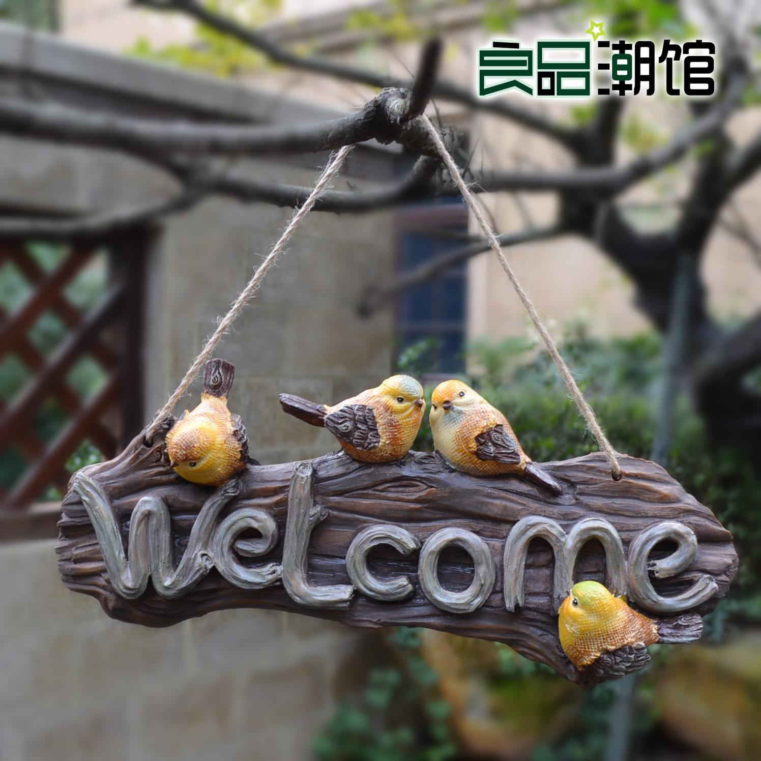 welcome树脂小鸟欢迎牌