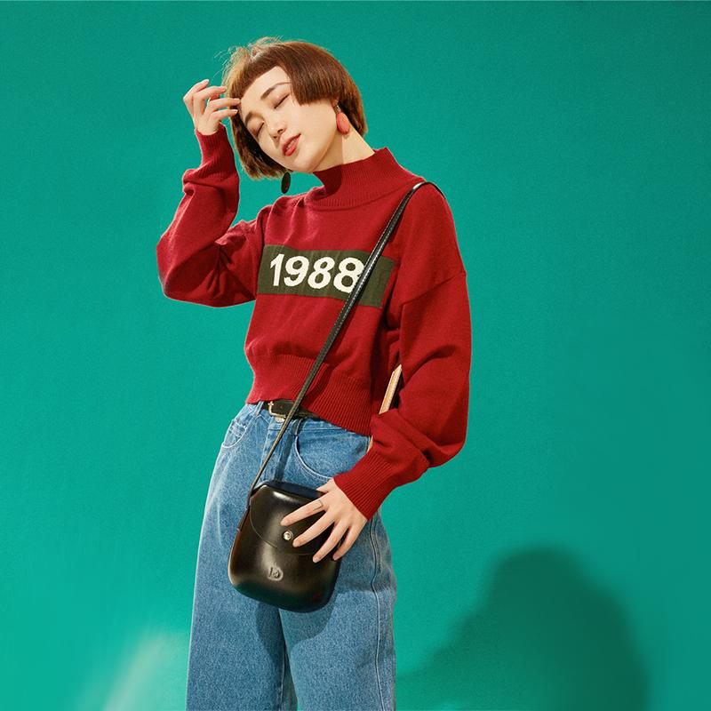 杨二大梦原创自制 复古红色高领短款针织衫春秋套头毛衣外套女