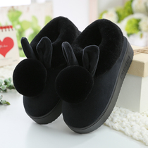 High heel cotton slippers female winter bag and thick bottom indoor plush cute moon home cotton shoes Winter home warm