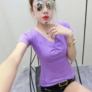 短袖女2021新款夏装韩版时尚性感V领t恤女修身纯棉紧身上衣小衫潮