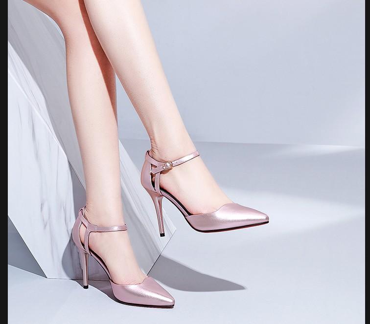 MZ CENTURY2019新款细高跟尖头女凉鞋大码42小码33.32女扣带女鞋