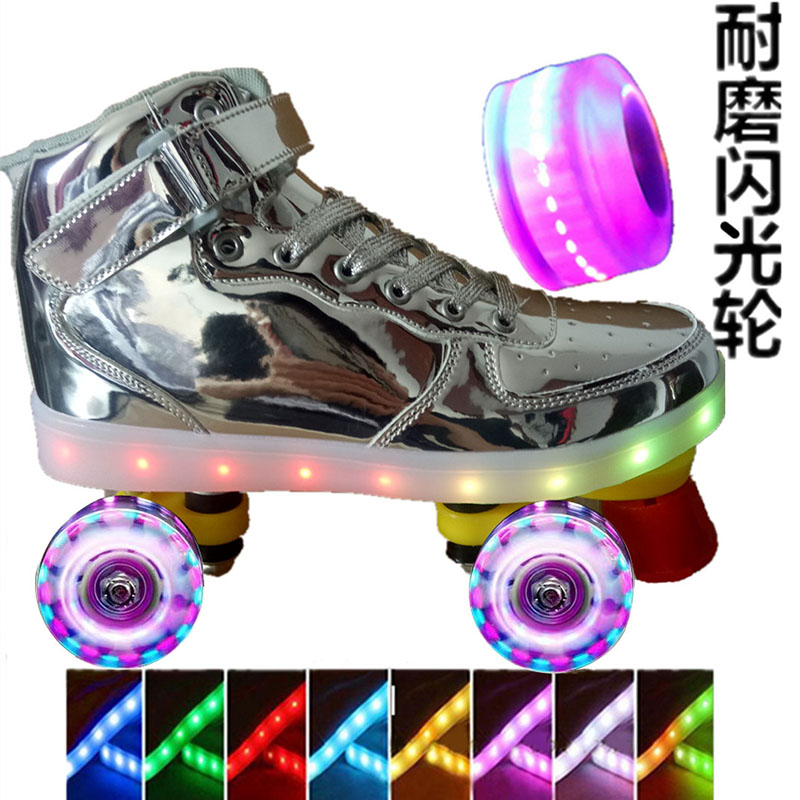 Double row roller skates single row flash colorful star skates rechargeable shoes fancy roller skates