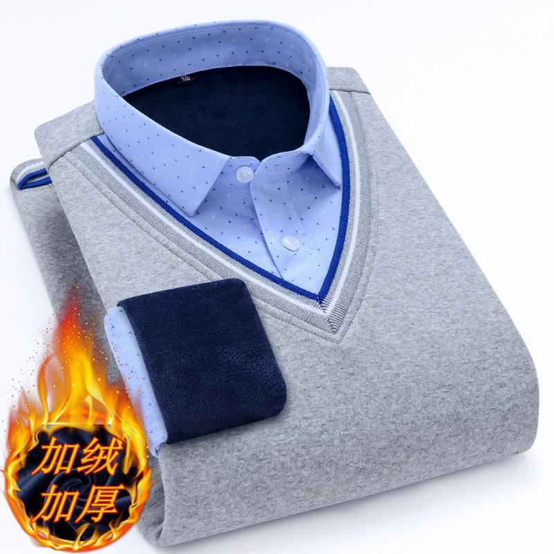 假两件保暖衬衫男士加绒加厚针织衫冬长袖套头衬衣中青年爸爸毛衣