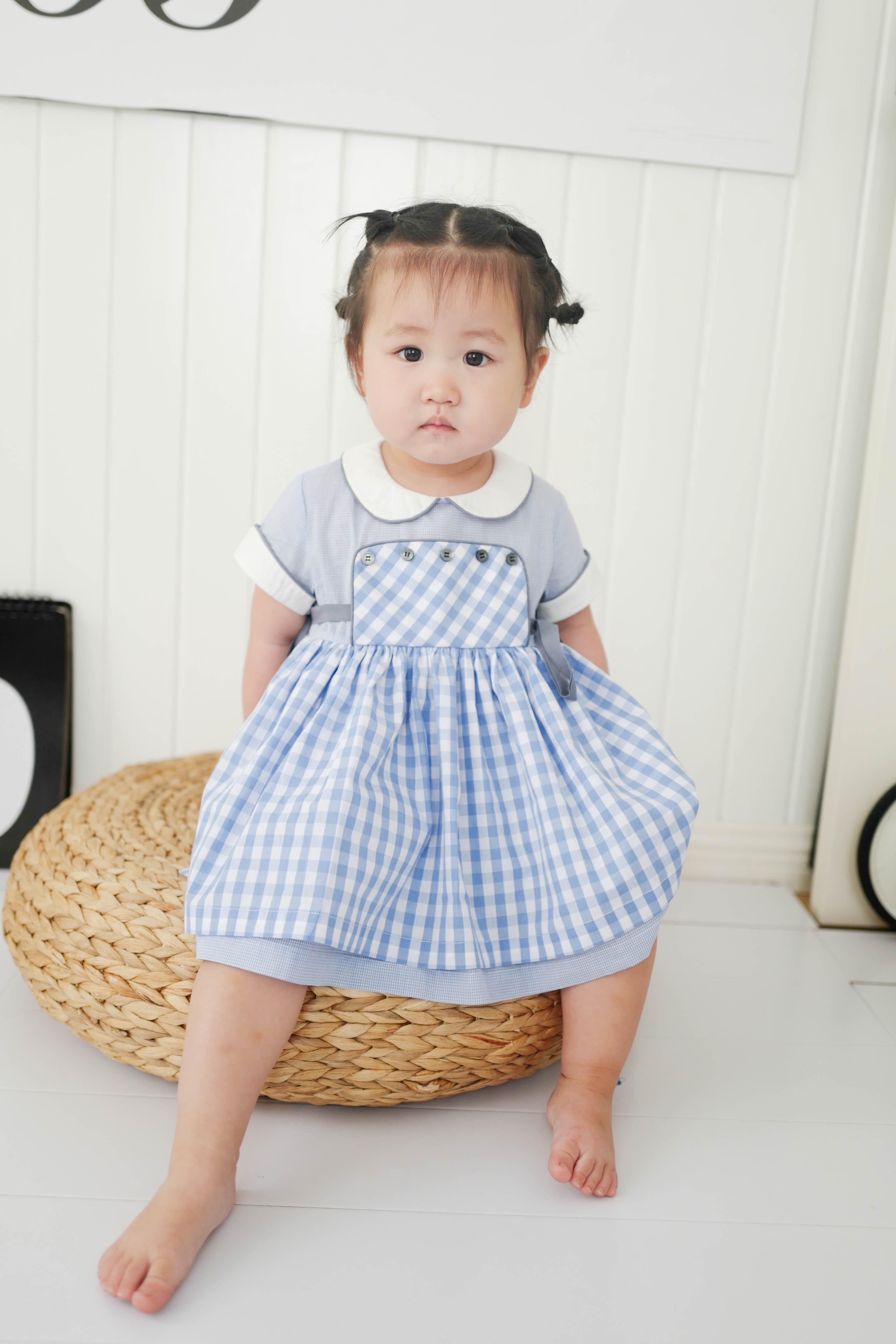 C妈自制BabyC女童小童宝宝2018新款纯棉格子 vintage连衣裙