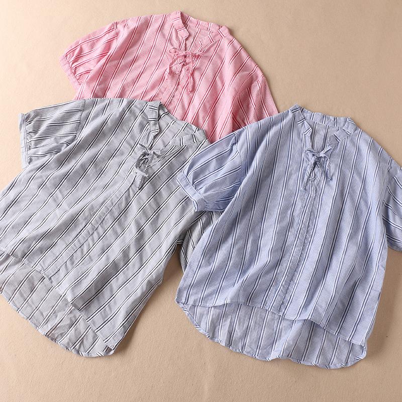 2019夏提花竖条纹领口绑带短袖衬衫女全棉套头外穿薄衬衣 W2104