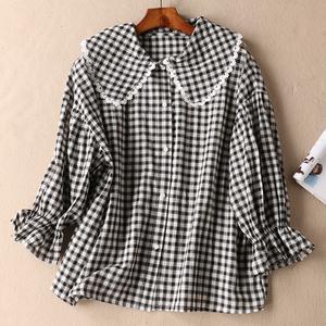 新款森女系蕾丝娃娃领宽松小方格子喇叭九分袖纯棉衬衫 WD3329