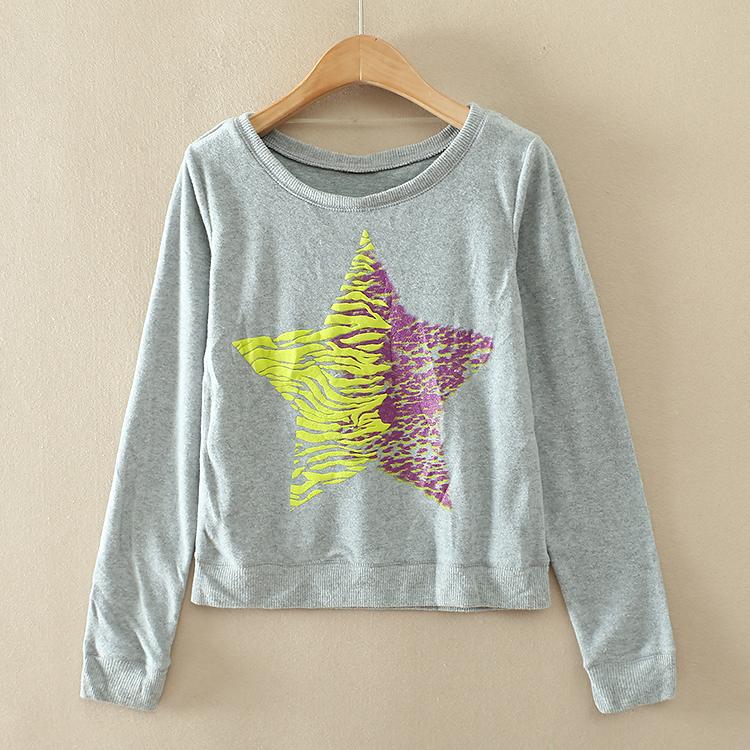 Экспорт одной дамы в осенью длинным рукавом свитер пятиконечных звёзд вокруг шеи пуловеры резьбовой конец маятника A712