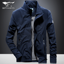 Seven wolf spring jacket men's middle-aged thin casual collar coat spring and autumn clothing Korean version of tooling trend