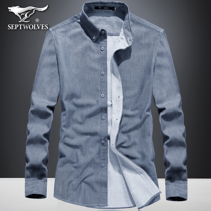 A seven wolves long-sleeved shirt men's pure cotton casual men's shirt square collar all-match autumn and winter business inch shirt tops