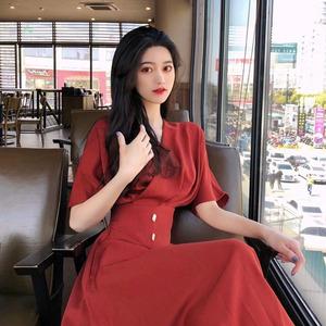 2019夏季新款韓版超仙女甜美森系長款桔梗法式復古過膝連衣裙女