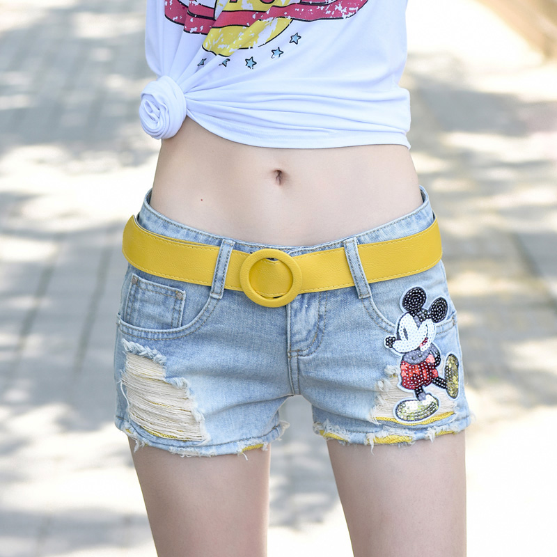 Low waist denim shorts womens summer thin jeans super short womens spring 2020 new Korean loose and perforated shorts