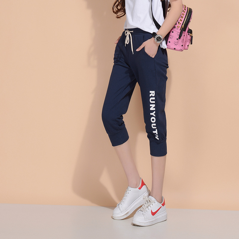 Summer womens long distance sports students body leisurely leisure and over knee half leg sports pants
