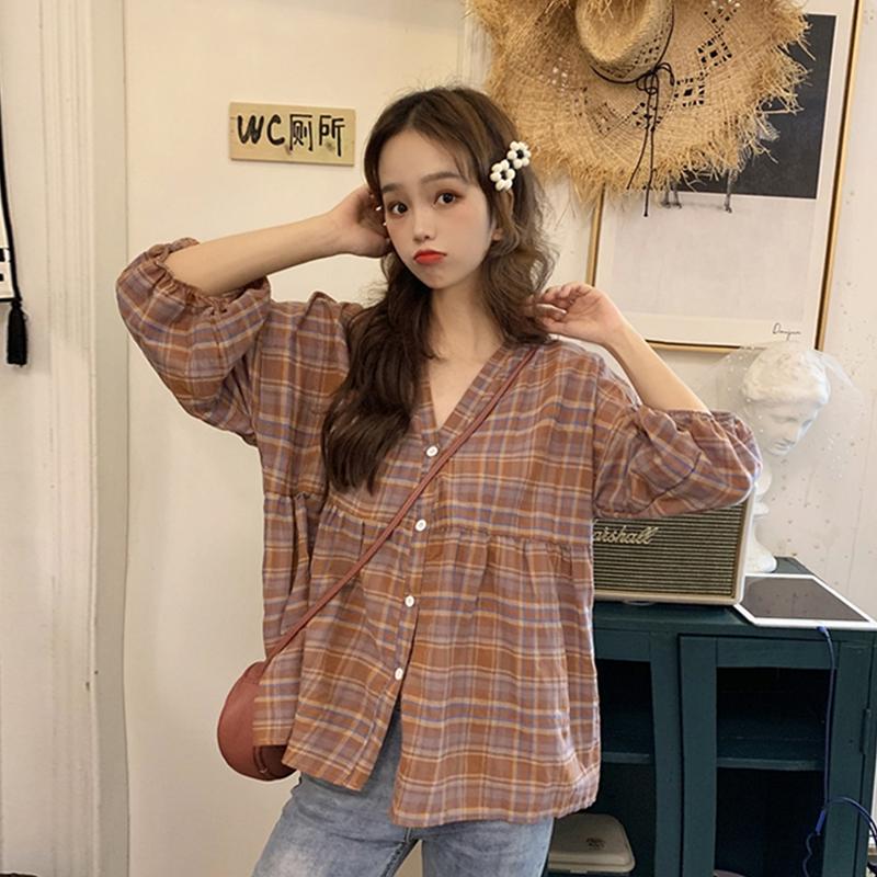 格子夏季2019新款韩版可爱宽松衬衫(用4.02元券)