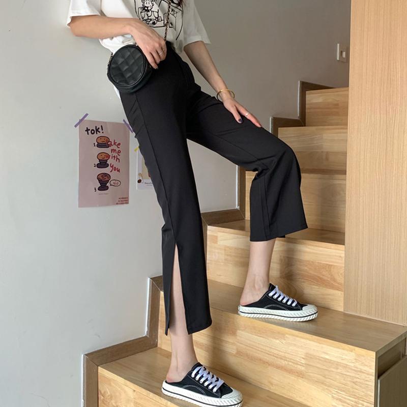 夏季2020新款韩版黑色开叉高腰休闲裤女显瘦百搭直筒裤九分喇叭裤图片