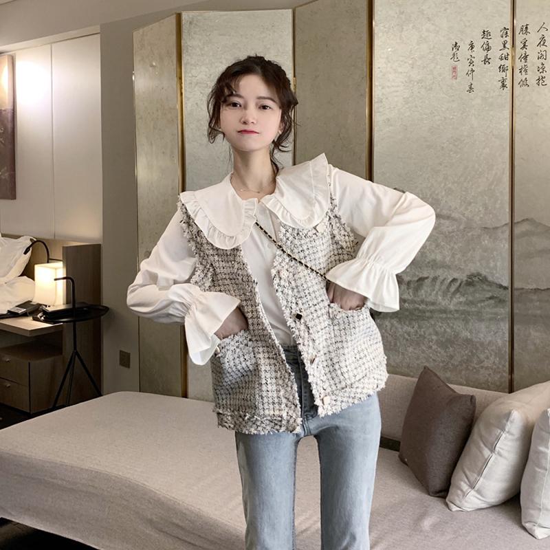 秋季2019新款韩版甜美白色娃娃领衬衫女宽松洋气雪纺长袖上衣ins