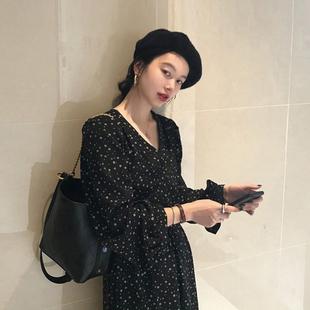 碎花裙宽松气质长款 2019新款 复古中长款 韩版 连衣裙女 秋装 法式 长袖