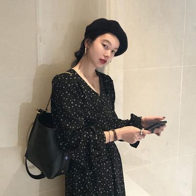 秋裝2019新款韓版法式復古中長款碎花裙寬松氣質長款長袖連衣裙女