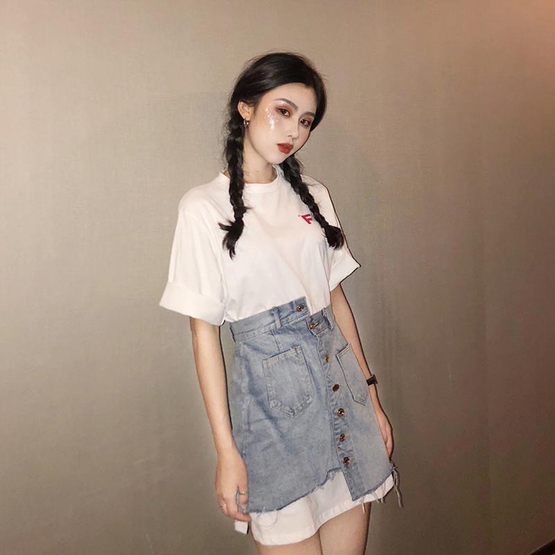 春季套装女2020韩版新款白色短袖T恤+不规则高腰半身裙时尚两件套