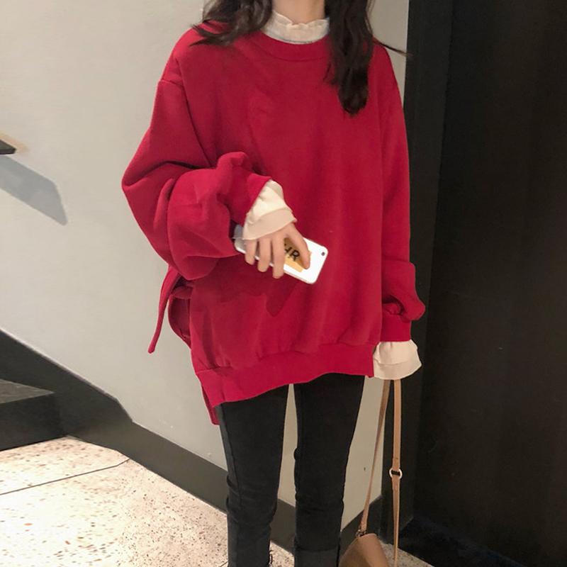 时尚套装女2019新款韩版侧绑带宽松卫衣+超仙喇叭袖雪纺衫两件套(用10.02元券)