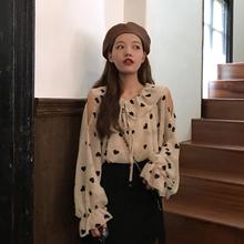 爱心印花薄款 韩版 雪纺衬衫 荷叶领长袖 很仙 女潮 上衣夏季 2019新款