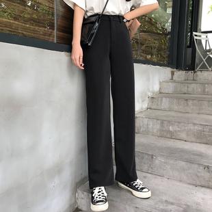 坠感阔腿裤黑色裤子女秋冬韩版宽松高腰垂感直筒裤西装裤黑色西裤图片