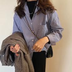 秋款2019新款韩版宽松长袖条纹衬衫女学生设计感小众复古衬衣上衣