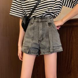 短裤2020夏季新款韩版复古高腰牛仔裤女显瘦百搭直筒裤宽松阔腿裤