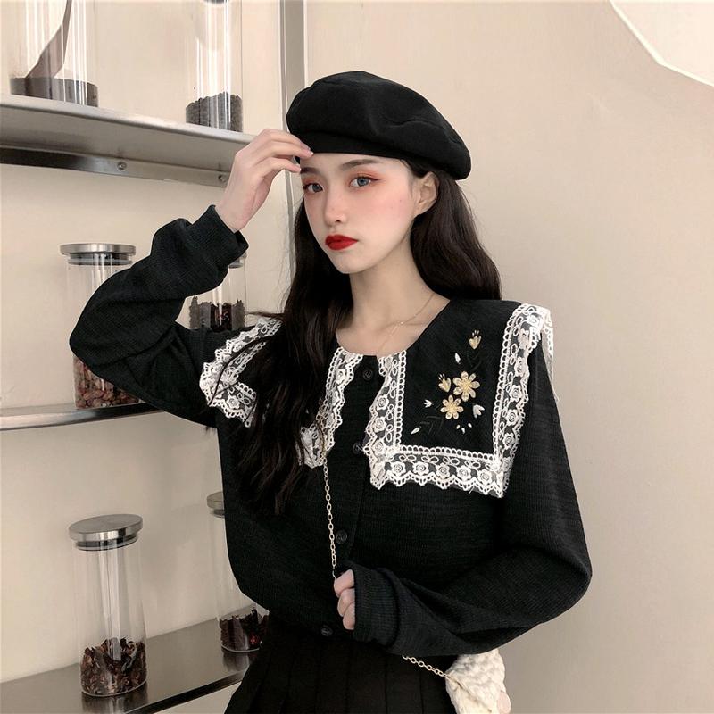 秋冬2019新款韩版长袖针织衫女洋气蕾丝花边外穿黑色开衫打底毛衣