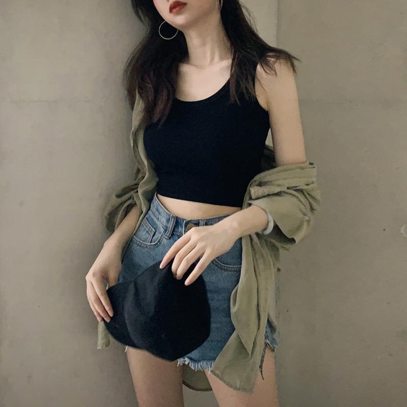 運動小吊帶背心女外穿潮黑色內搭修身打底衫短款白色無袖上衣女夏