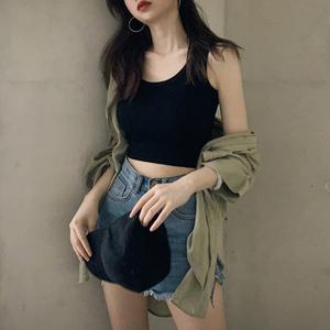 运动小吊带背心女外穿潮黑色内搭修身打底衫短款白色无袖上衣女夏