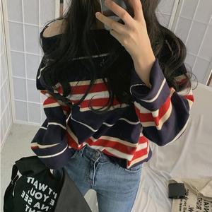 2019秋季新款韩版chic复古露肩上衣宽松条纹一字肩短款针织衫女潮