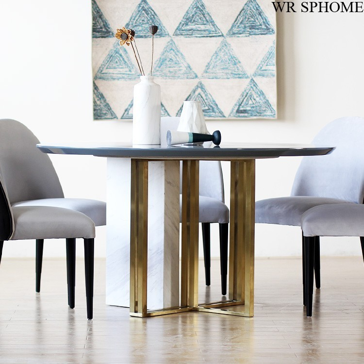 11月07日最新优惠WRSPHOME意大利新潮设计 家具定制 大理石不锈钢结合 1.4米圆餐桌