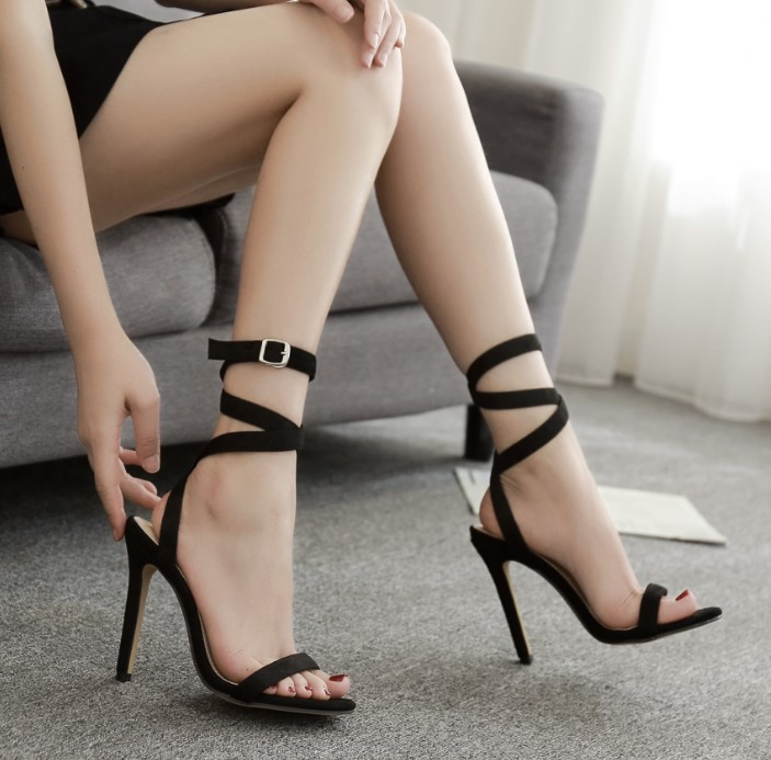 European station 2020 new sexy suede hollow trip strap lace up 11cm super high heel thin heel open toe womens sandals