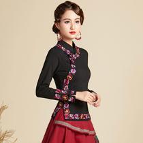 刺绣t恤 女民族风大码长袖上衣日常中式云南丽江复古中国风 女装